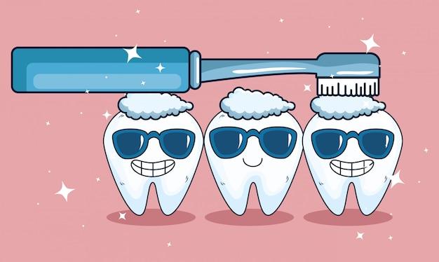 Denti sanitari con occhiali da sole e igiene dello spazzolino da denti Vettore gratuito