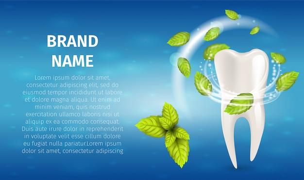 Dentifricio in pasta naturale della menta dell'illustrazione realistica Vettore Premium