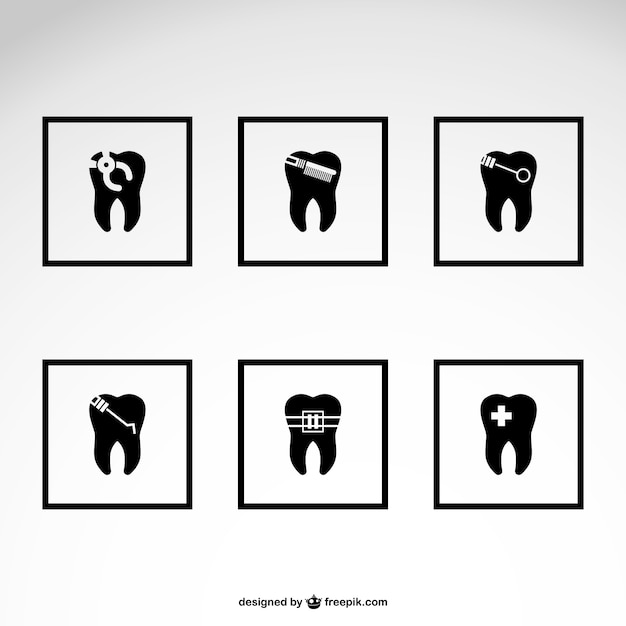 Dentista icone free download Vettore gratuito