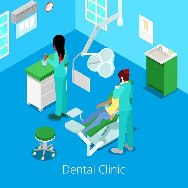 Dentista isometrico cabinet interior con paziente e medico. Vettore Premium