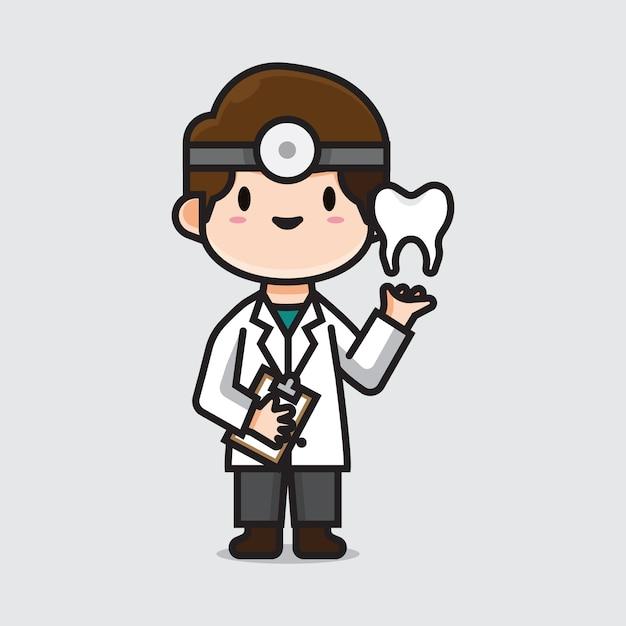 Dentista medico carino Vettore Premium