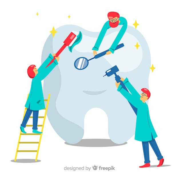 Dentisti prendersi cura di uno sfondo di dente Vettore gratuito