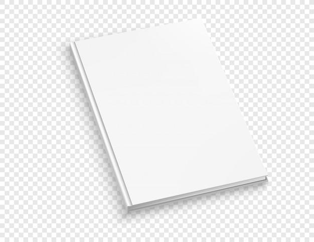 Derisione di vettore del libro di hardcover sottile bianca su isolato su sfondo trasparente. Vettore Premium