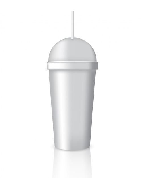 Derisione su caffè realistico che imballa con vetro o tazza su fondo bianco Vettore Premium