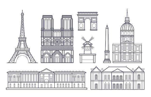 Descriva il paesaggio di parigi, icone dei punti di riferimento di vettore della francia Vettore Premium