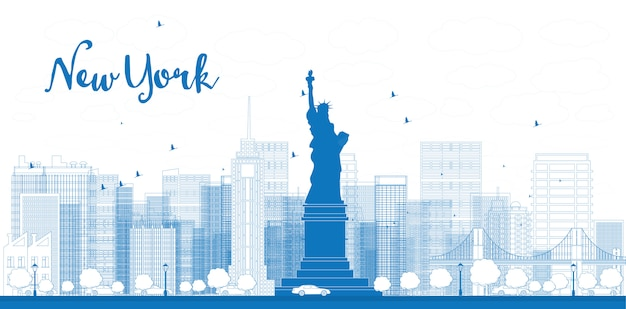 Descriva l'orizzonte di new york city con i grattacieli Vettore Premium