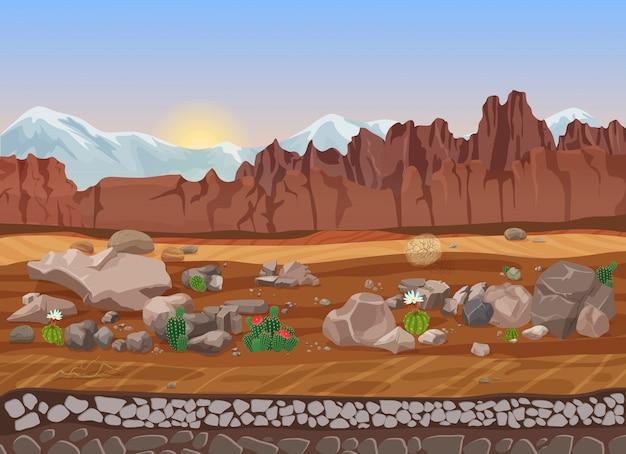 Deserto di pietra secca di prateria del fumetto Vettore Premium