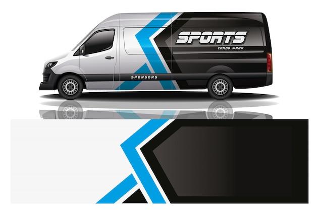 Design avvolgente per auto van per azienda Vettore Premium