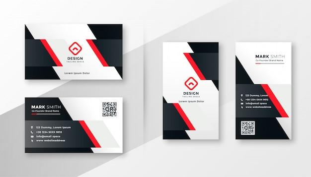 Design aziendale biglietto da visita rosso Vettore gratuito