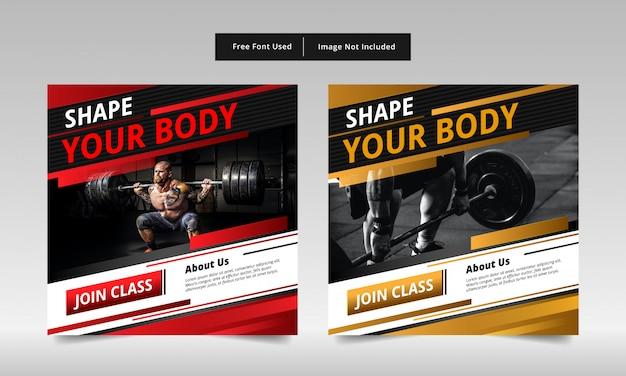 Design banner post fitness, rosso e giallo. Vettore Premium