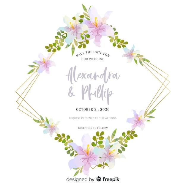 Design bellissimo invito floreale di nozze Vettore gratuito