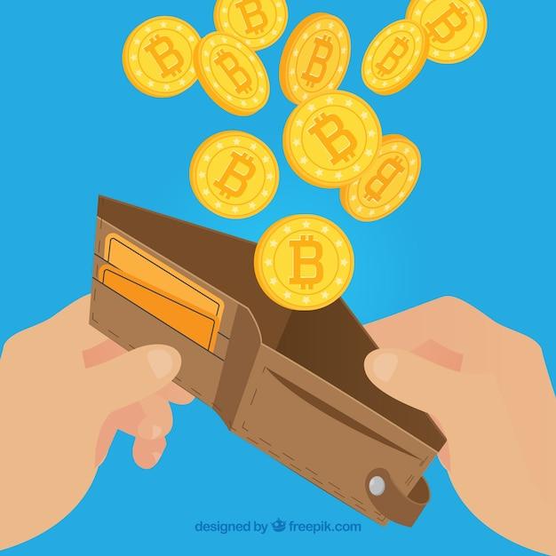 Design bitcoin con portafoglio Vettore gratuito