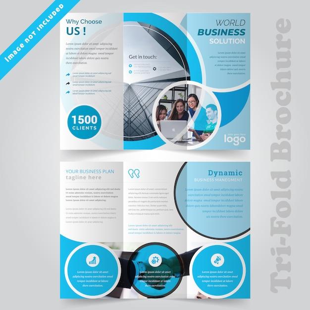 Design brochure aziendale blu a tre ante Vettore Premium