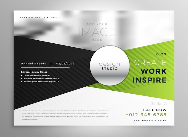 Design brochure aziendale in tonalità verde e nero Vettore gratuito