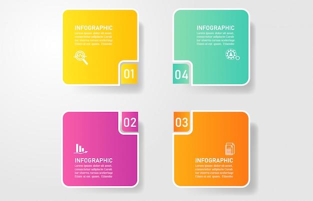 Design business template 4 opzioni infografica per presentazioni. Vettore Premium