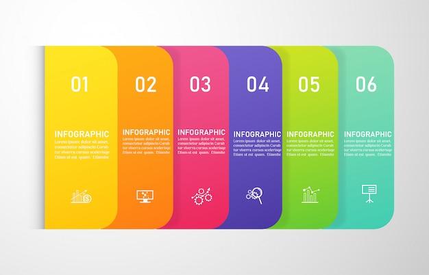 Design business template 6 opzioni infografica per presentazioni. Vettore Premium