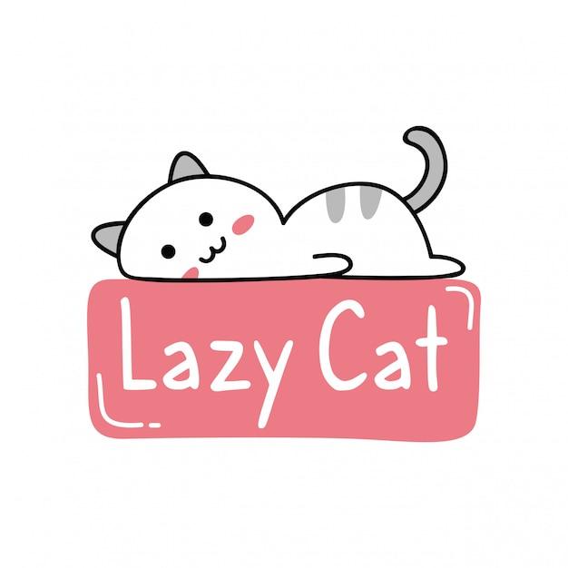 Design carino con gatto pigro kawaii Vettore Premium