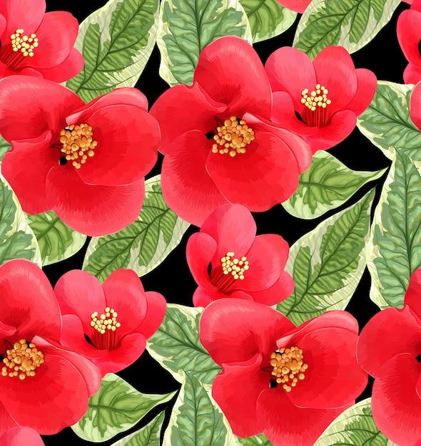 Design colorato con fiori e foglie rossi. illustrazione succosa. motivo floreale senza soluzione di continuità Vettore Premium