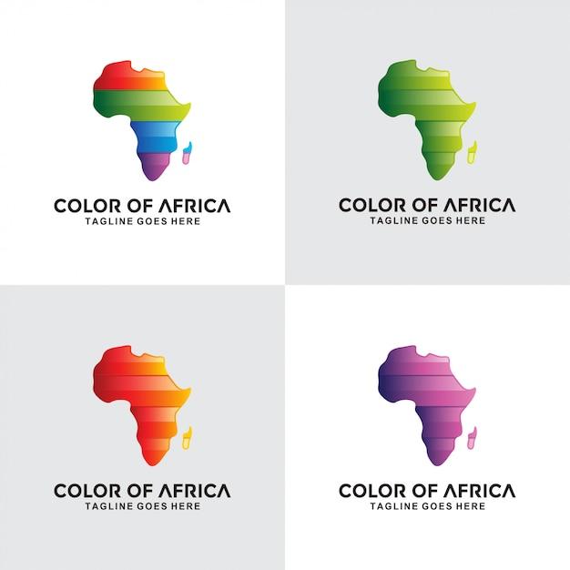 Design colorato logo africa Vettore Premium