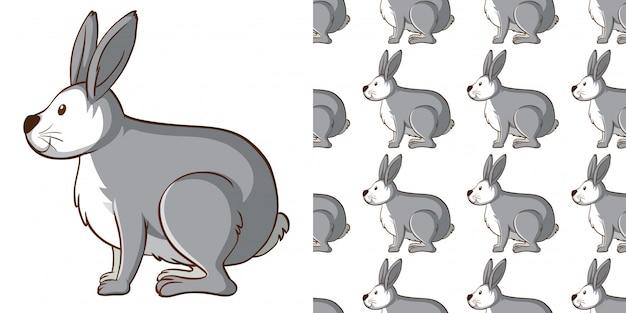 Design con coniglio grigio senza cuciture Vettore gratuito