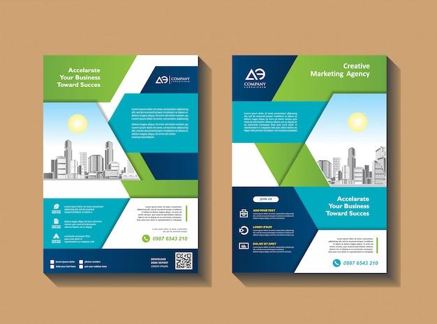 Design copertina poster a4 catalogo libro brochure volantino layout relazione annuale modello di business Vettore Premium
