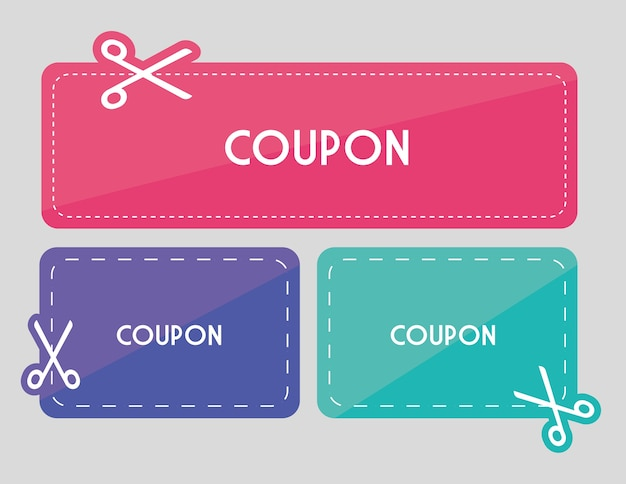 Design coupon icona di vendita. concetto di acquisto Vettore Premium