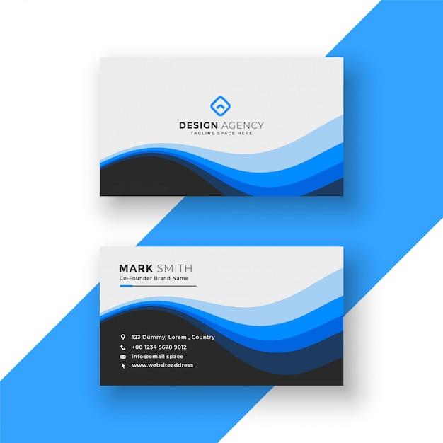 Design creativo biglietto da visita blu ondulato Vettore gratuito