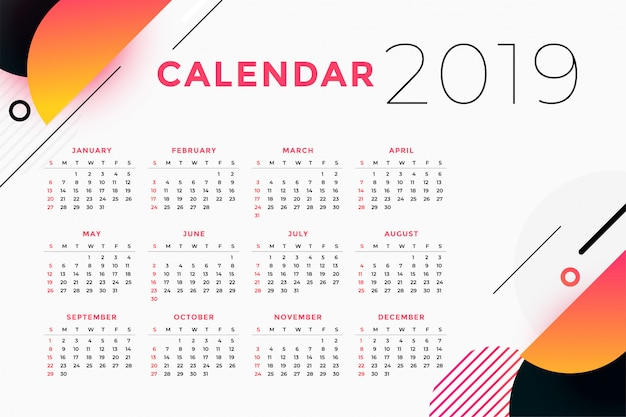 Design creativo calendario astratto 2019 Vettore gratuito