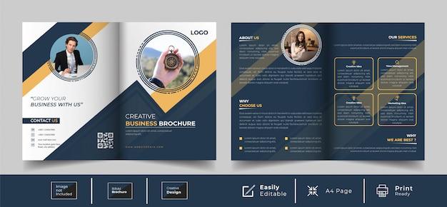 Design creativo pieghevole modello di brochure Vettore Premium