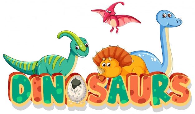 Design dei caratteri per i dinosauri di parola con molti tipi di dinosauri su sfondo bianco Vettore gratuito