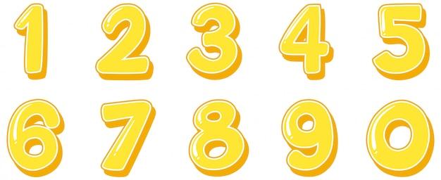 Design dei caratteri per i numeri da uno a zero su sfondo bianco Vettore Premium