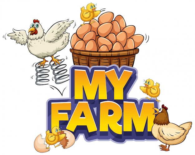 Design dei caratteri per la parola la mia fattoria con pollo e uova fresche Vettore gratuito