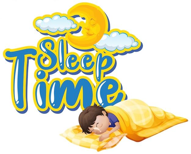 Design dei caratteri per la parola sonno con bambino che dorme di notte Vettore gratuito