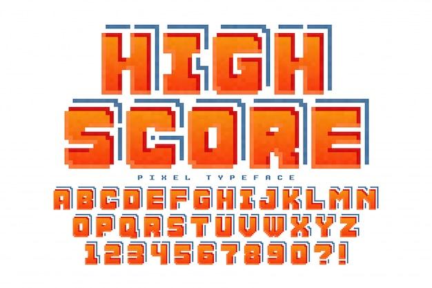 Design dei font pixel Vettore Premium