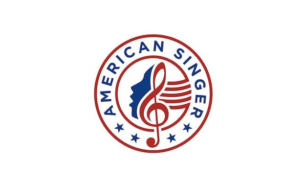 Design del logo american singer / choir Vettore Premium