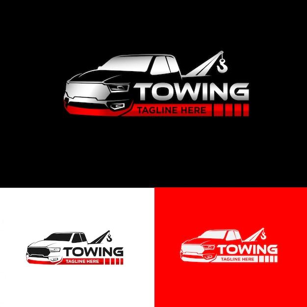 Design del logo della società di rimorchio automobilistico Vettore Premium