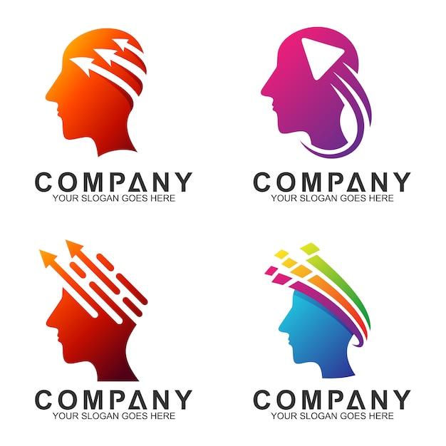 Design del logo della testa umana Vettore Premium