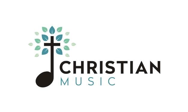 Design del logo di christian music Vettore Premium