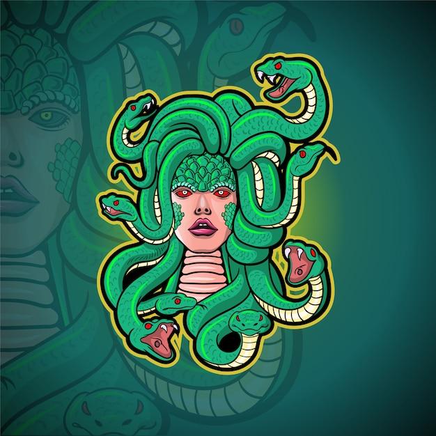 Design del logo di esportazione della mascotte della medusa Vettore Premium