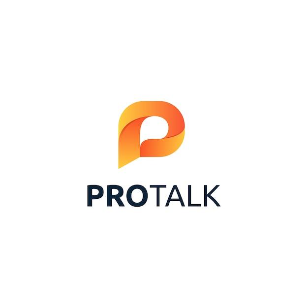 Design del logo di lettera p pro talk Vettore Premium