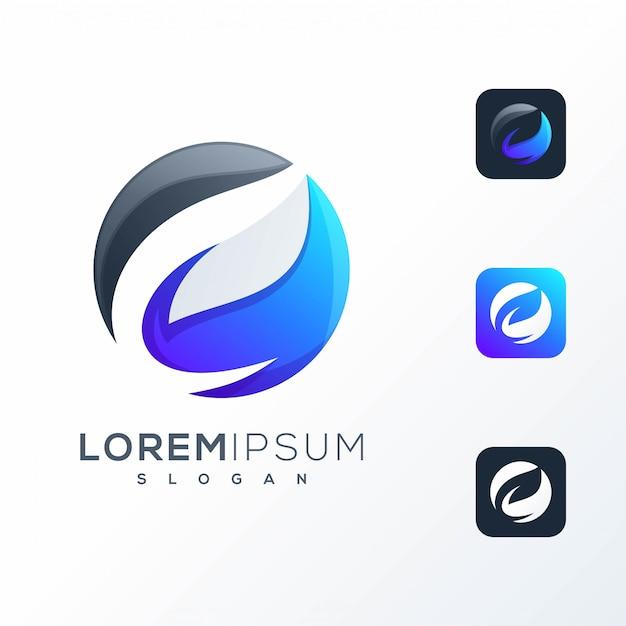 Design del logo foglia spazio negativo pronto per l'uso Vettore Premium