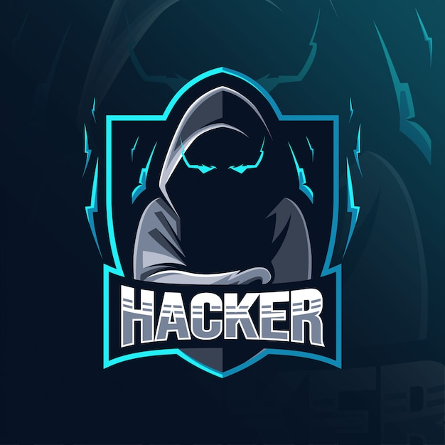 Design del logo mascotte hacker Vettore Premium