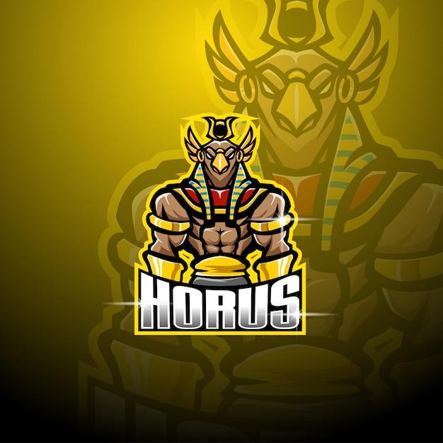 Design del logo mascotte horus esport Vettore Premium