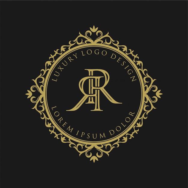 Design del logo monogramma vintage per l'etichetta del marchio Vettore Premium