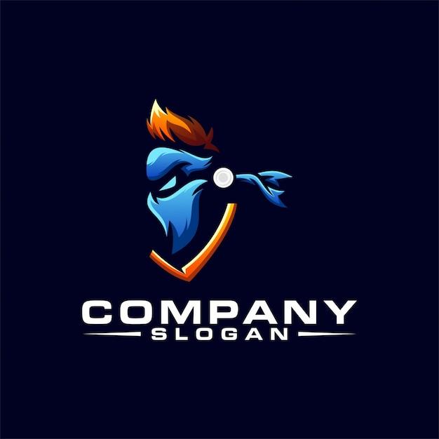 Design del logo ninja Vettore Premium