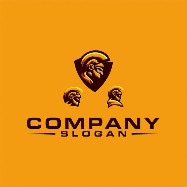 Design del logo spartano Vettore Premium