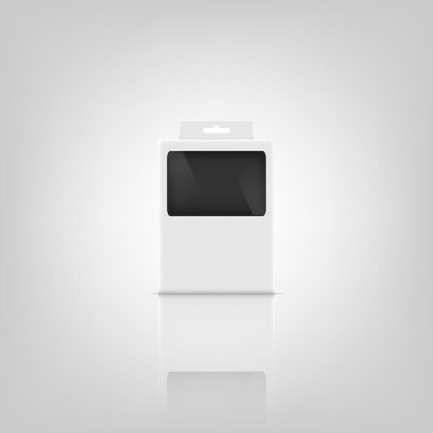 Design del mockup del pacchetto 3d. Vettore Premium