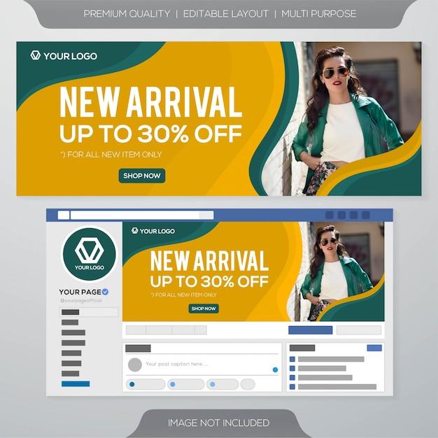 Design del modello di annunci di copertina di facebook Vettore Premium