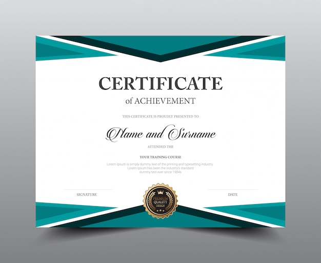 Design del modello di layout certificato. stile di lusso e moderno, opere d'arte. Vettore Premium
