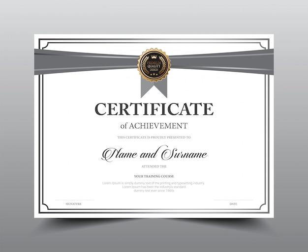 Design del modello di layout certificato. Vettore Premium